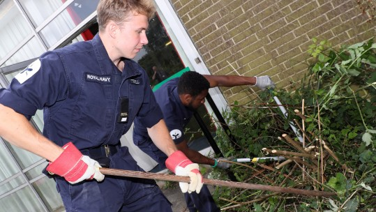 HMS Sultan sailors help out Crofton Hammond School CREDIT ROYAL NAVY