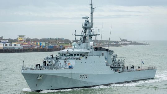 Cover Image: HMS Trent sails into Portsmouth harbour (Picture: Royal Navy).