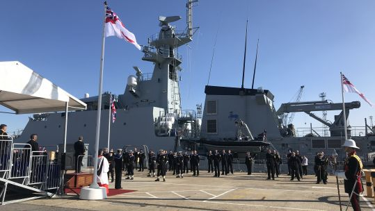 HMS Trent being commissioned into the Royal Navy Fleet at Portsmouth Naval Base 030820 CREDIT BFBS.jpg