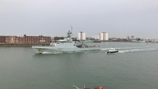 HMS Trent departing Portsmouth Naval Base for Gibraltar, where it will become the first vessel to be permanently based at the Rock