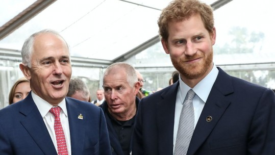 Prince Harry with Malcolm Turnbull