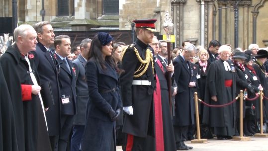 Harry and Meghan at Field of Remembrance 071119 CREDIT BFBS.jpg