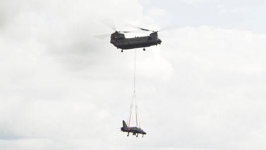 The Hawk is airlifted by the Chinook.