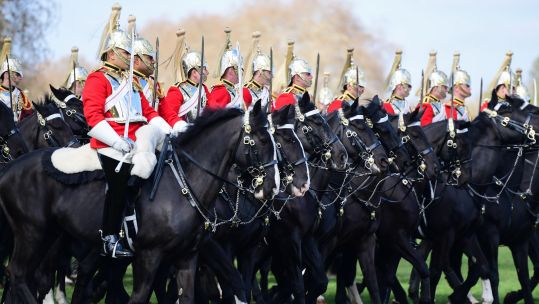 Household Cavalry Mounted Regiment on parade for the Major General's Inspection in Hyde Park
