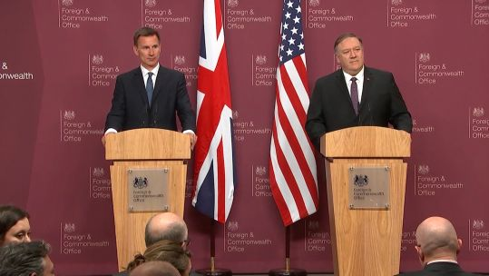 Foreign Secretary Jeremy Hunt and US Secretary of State Mike Pompeo.