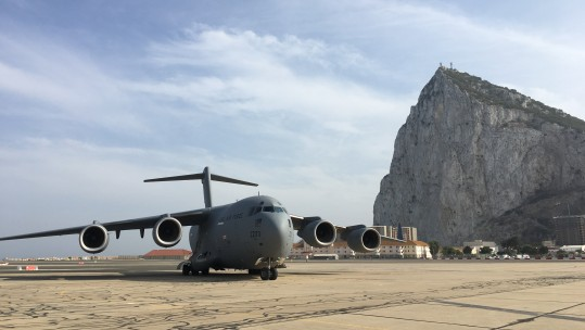 C-17 at RAF Gibralatar with Rock