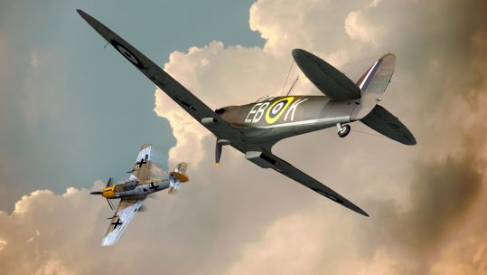 Spitfire and Messerschmitt Bf109 illustration