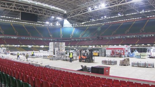 Interior of Principality Stadium during conversion to Dragons Heart Hospital.