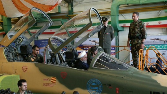 Iranian President Hassan Rouhani inspects new 'Kowsar' fighter jet