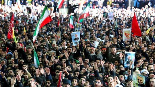 Iranian mourners during General Qassem Soleimani's funeral in Tehran 060120 CREDIT PA,.jpg