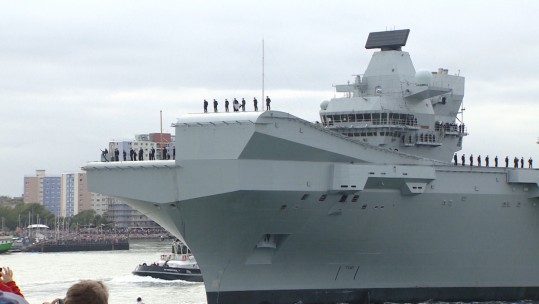 HMS QE LEAVING PORTSMOUTH