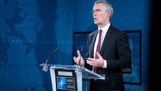 Cover image: Jens Stoltenberg speaks at the press conference (Picture: NATO).