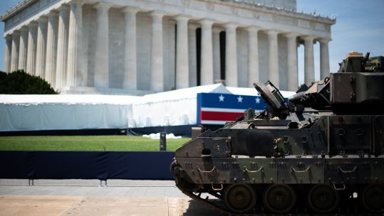 July 4 Independence Day M2 Bradley Infantry Fighting Vehicle Lincoln Memorial