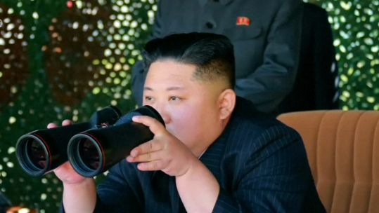 Archive picture showing North Korean leader Kim Jong Un watching a missile test on Aug 10 2019 (Picture: KCTV).