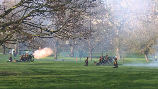 King's Troop Royal Horse Artillery performing gun salute for the Queen in Green Park