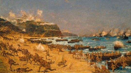 Landing_at_Gallipoli_ANZAC Cove from Archives New Zealand