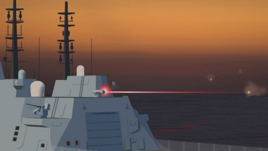 The laser weapons systems deploy high energy light beams to target and destroy enemy drones and missiles (Picture: MOD).