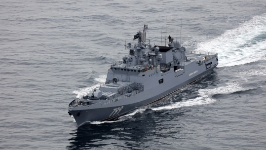 Russia's newest warship Admiral Makarov passes through English Channel