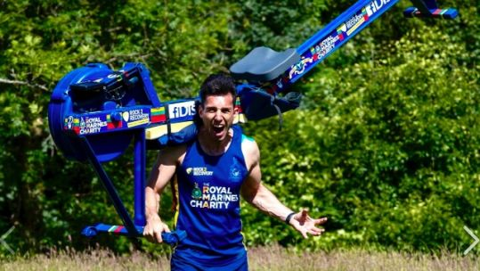 Matthew Disney with the rowing machine he had to leave on Mont Blanc 030919 CREDIT Matthew Disney.jpg