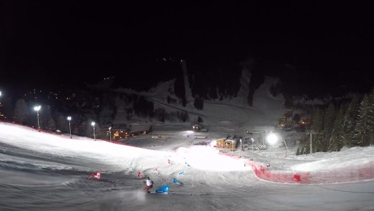 Meribel slope under floodlights