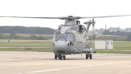 Merlin Mk 4 prepares to take off for flight trials on board HMS Queen Elizabeth.