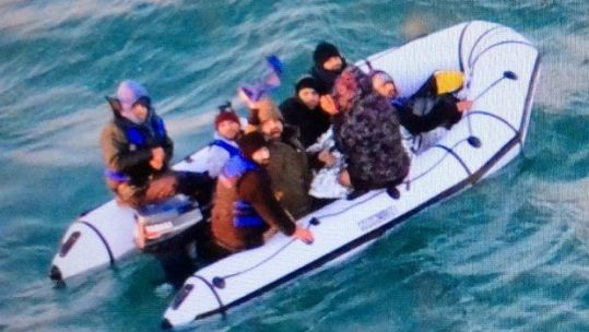Migrants have been crossing the busiest shipping lane in the world over Christmas (Pic: @premarmanche/marine nationale)
