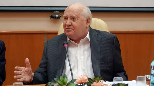Mikhail Gorbachev during a presentation for his book