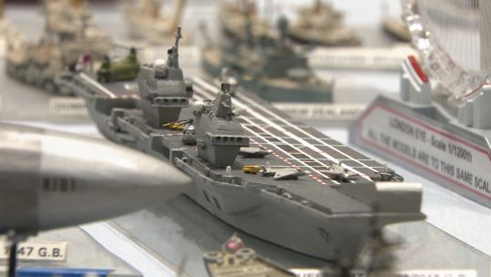 Miniature model of HMS Queen Elizabeth 170120 CREDIT BFBS