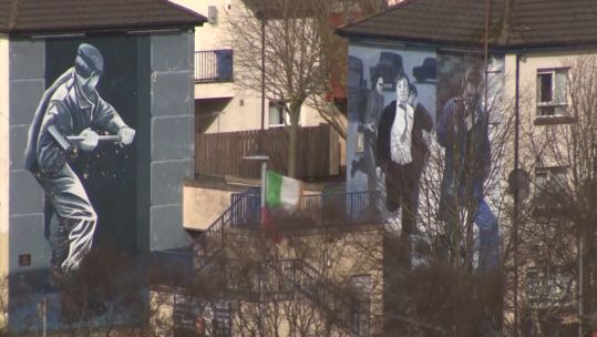 Murals on sides of houses in Londonderry 130319 SOURCE BFBS