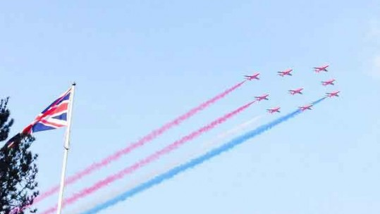 Red Arrows Impress Over Wales for NATO Summit