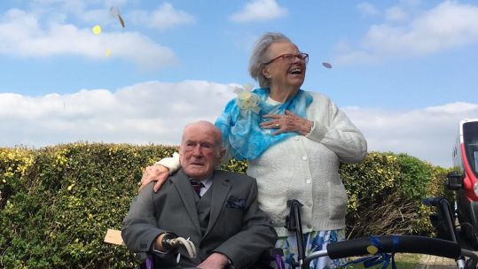 Peter Van Zeller and Nancy Bowstead celebrating their love (Picture: Blind Veterans UK).