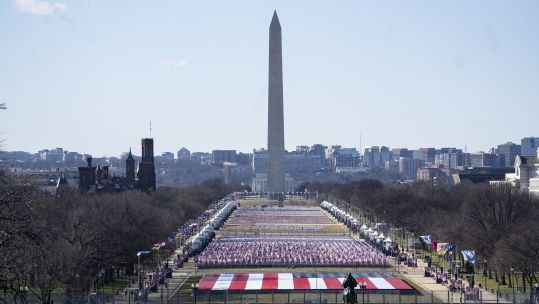 National Mall in Washington DC, United States, prior to Joe Biden's inauguration