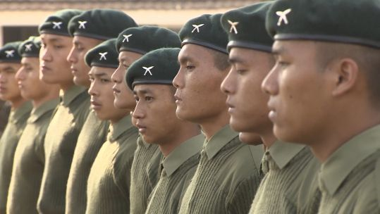New recruits in line for Gurkha induction training 070219 CREDIT BFBS