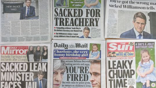 Newspaper coverage of Defence Secretary Gavin Williamson sacking 020519 SOURCE BFBS