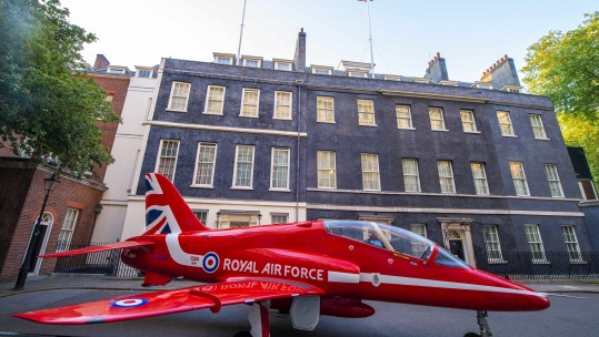 Red Arrows Jet Into Downing St For RAF Anniversary Celebrations 230518