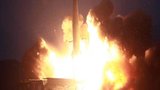 One of several projectile launches from North Korea (Picture: KCNA).