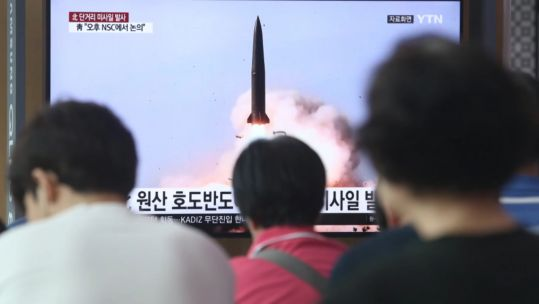 North Korean people watching missile launch news 260719 CREDIT KCNA