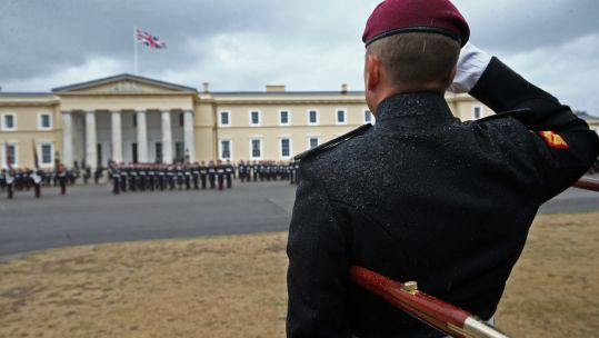 Officer cadets at Royal Military Academy Sandhurst during Sovereign's Parade