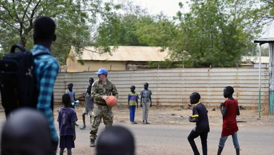 Op Trenton soldier with children in South Sudan 150719 CREDIT BFBS UN.jpg