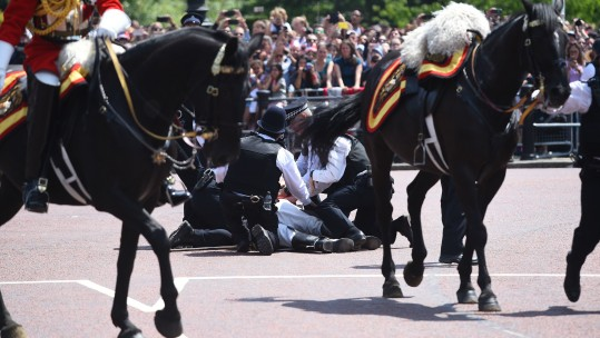 Lord Guthrie, former Chief of Defence Staff, 79, receives attention after he fell off his horse in front of Buckingham Palace following the Trooping the Colour ceremony at Horse Guards Parade, central London.