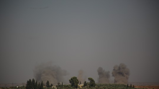 Tamanah, Idlib during air raids (Credit PA)