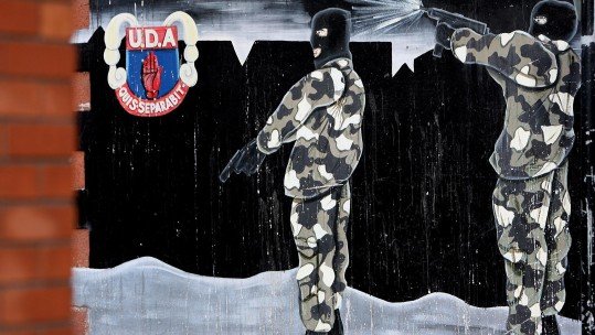 UDA Mural in Sandy Row on Remembrance Day in Belfast