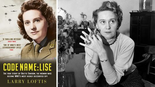 Picture of Odette Sansom and cover of the book Code Name Lise 090519 CREDIT Mirrorpix