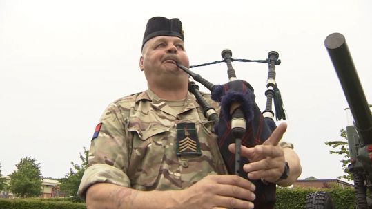 Piper Major Trevor Macey-Lillie to play on D-Day Credit BFBS 300519