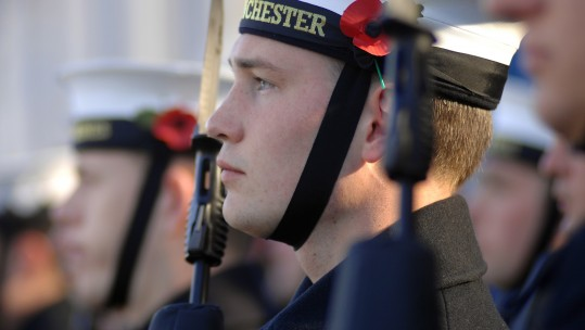 Poppy - November ceremonies training on HMS Excellent 311008 CREDIT Royal Navy