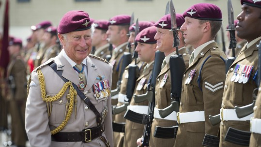 Prince Charles wearing a Sam Browne and lanyard while visiting The Parachute Regiment