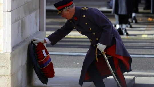 Prince Charles lays a wreath at the Cenotaph, marking 100 years since the end of the First World War (Picture: MOD).