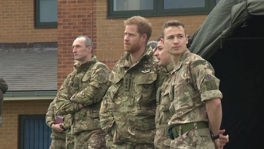 Prince Harry Meets New Commandos At Royal Marines Training Centre 200219 CREDIT BFBS.jpg