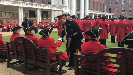 Prince Harry attends Founders Day event 060619 CREDIT Chelsea Pensioners Twitter.jpg
