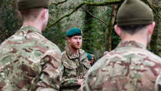 Prince Harry met Marines on Dartmoor (Picture: Royal Navy).